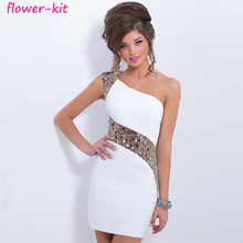 Sexy White Blush Short Beaded One Shoulder Women Bodycon Party Dress