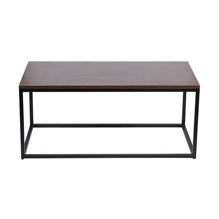 Modern Industrial metal leg rectangle wood coffee table for living room