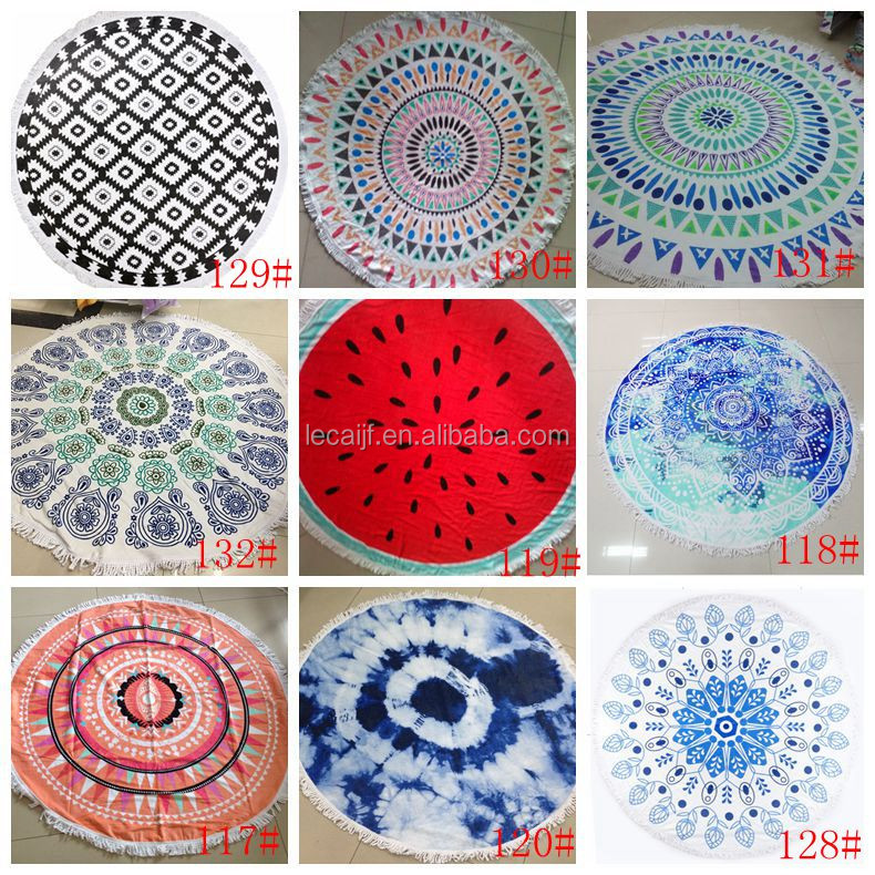 Wholesale 2016 new Round Watermelon Beach Towel OEM and ODM Service Supplied Large Circle round Beach Towel with tassels fringe