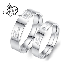 2pcs Stainless Steel Promise Rings for Couple with Lock and Key Pattern Silver