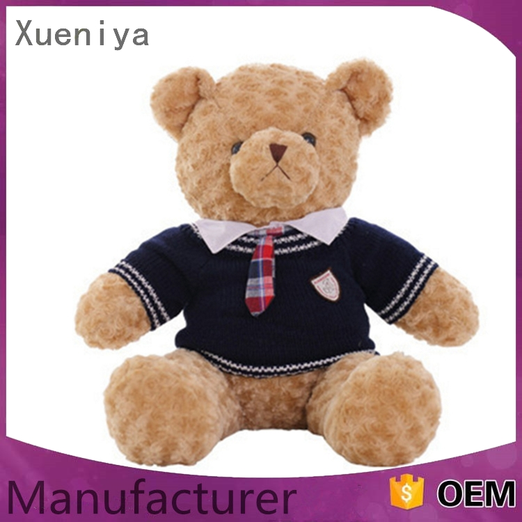 Promotional fashiobale custom handmade plush teddy bear with cloth
