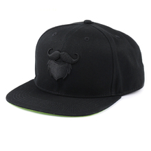 Custom made snapback caps black embroidered flat bill hats sale