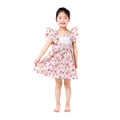 feather cap sleeve floral lovely children sweet frocks baby woven cotton dresses