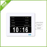 8 inch auto dimming diy auto flip clock for hearing loss with Non-Abbreviated Day & Month