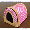 Good quality hot selling round dog cave dog bed stuffed dog house with colorful dot