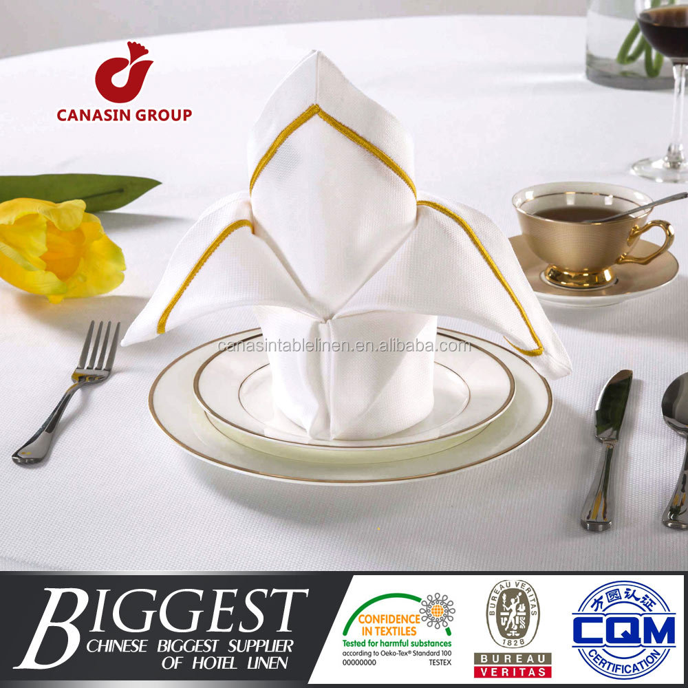 High quality white color plain embroidery napkin