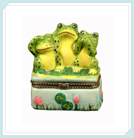 Ceramic hinged jeweled animal trinket box