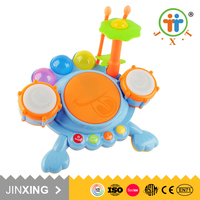 High quality kids cute electronic frog baby music set drum toys with new design
