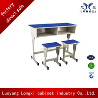 University desks and chairs for double students/cheap sale school furniture study desk