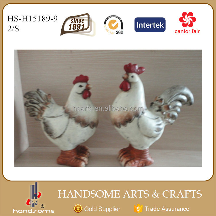 "9""rooster ceramic garden statue animal"