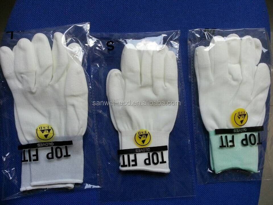 ESD Nylon White PU Finger Coating Top Fit Glove