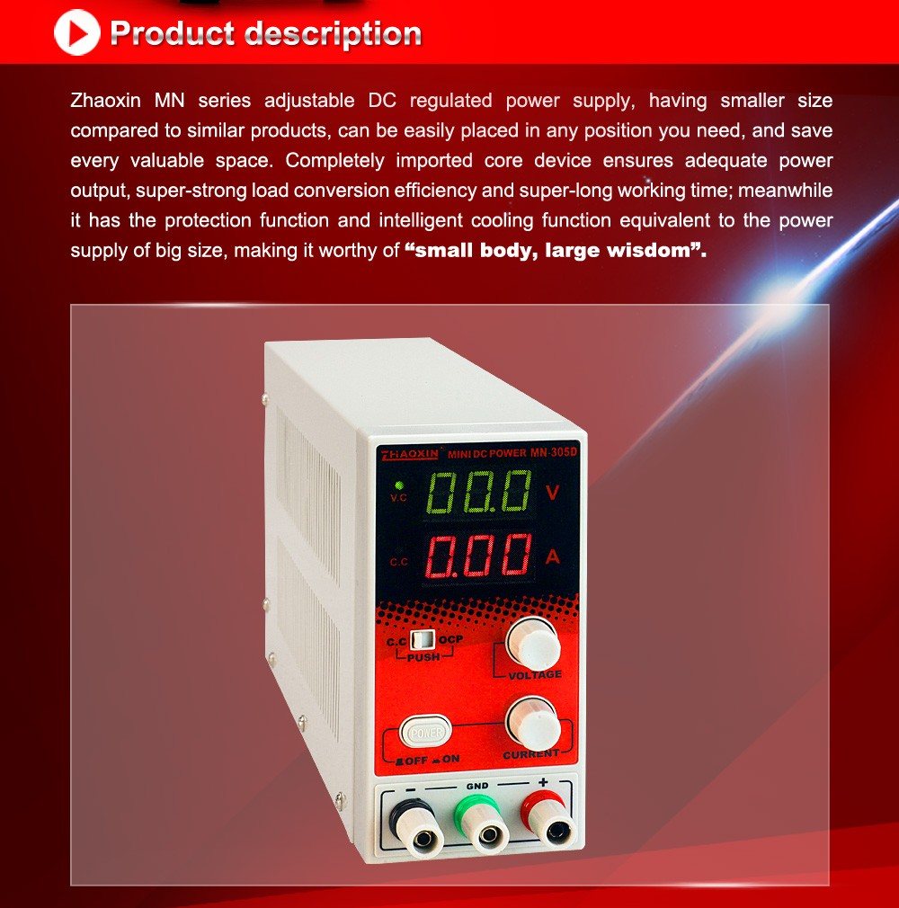 ZHAOXIN 150W MN-305D NINI dc power supply digital with CE approved