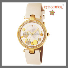 Ladies Fashion Diamond FS FLOWER Brand Watches Jasmin Color Leather Strap Best Gifts For Girls