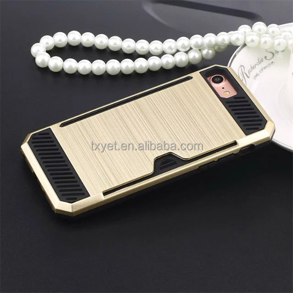 hot new products 2017 slim 3 in 1 cover pc +tpu hybrid combo cell phone credit card case for iphone7 7 plus