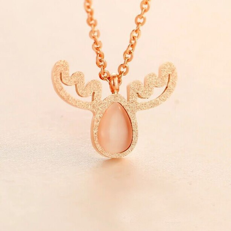 2015 christmas ornament Korean opal necklace,deer antler pendant necklace jewelry for christmas