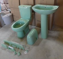 light green hot sale toilet bowl with twins outlet