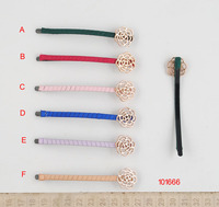 2014 new style fabric covered plastic hair clip with flower shaped filigree casting