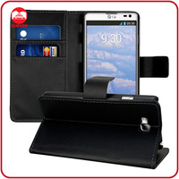 RF Manufacturer wholesale Book Style With Card Slots Flip Wallet Leather Case for LG Optimus L9 ii D605