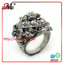 R6123C 2013 fashion trend crystal palladium plated rings for men