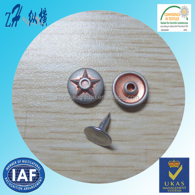 11.5mm custom new style metal denim rivets , china zinc alloy rivet for sales