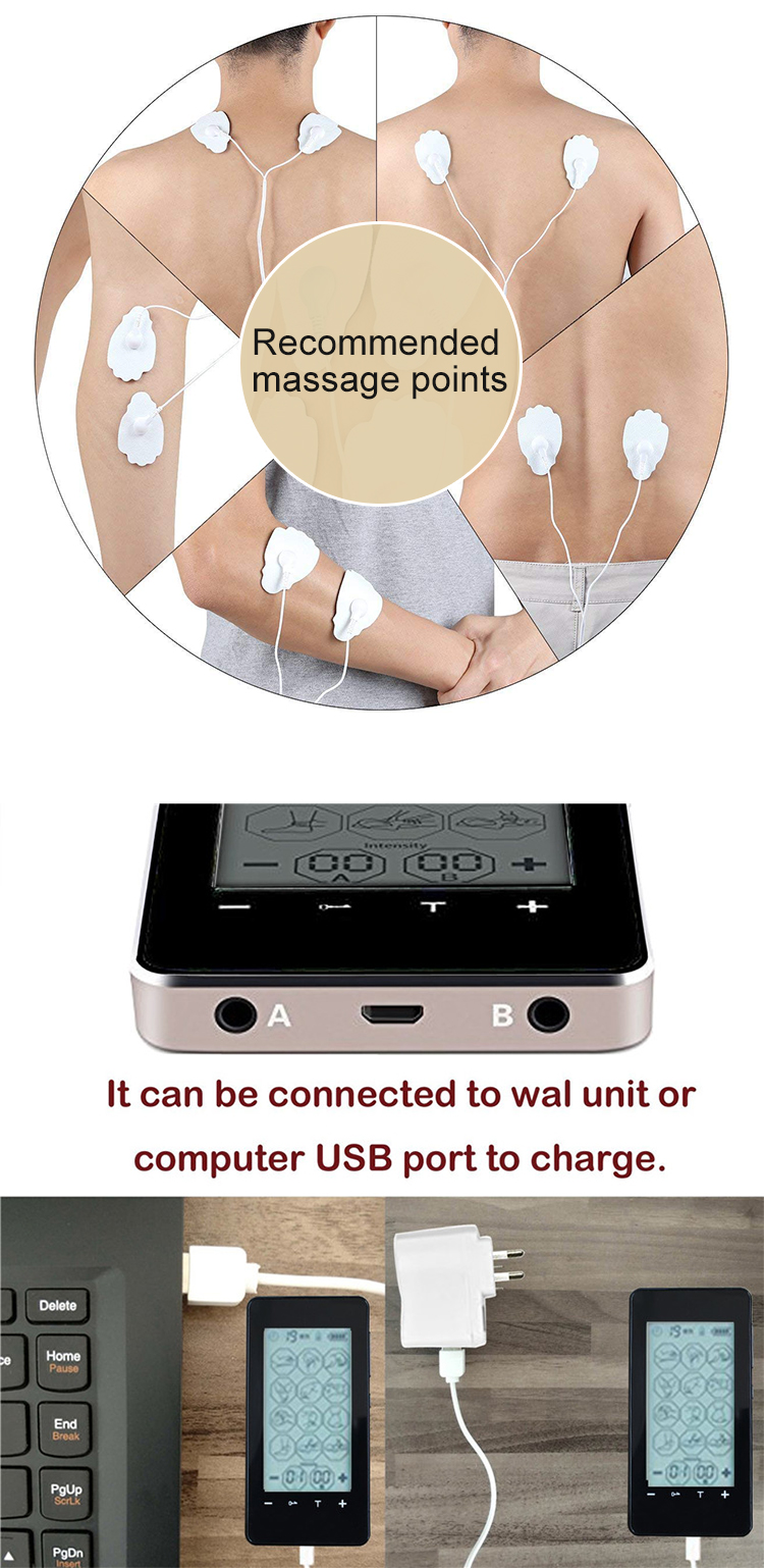 Misida TENS Unit Rechargeable Electronic Pain Relief Massager With 16 Modes With 10 Degree Intensity Dual Output