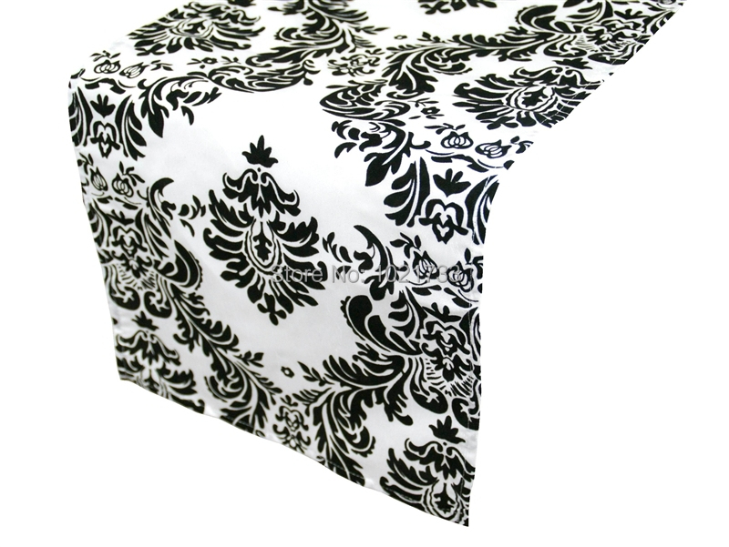 Get Quotations · Black And White Flocking Table Runner,damask Table Runner,30x275cm  Size,wedding,