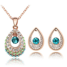 Peacock Eye Costume Teardrop Jewelry Set SWA Elements Crystal Necklace And Earring Sets Wholesale ST0014-C