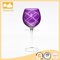 Hand Made Long stem cutting glass cup for red wine glass cup,candy colored wine glass factory china
