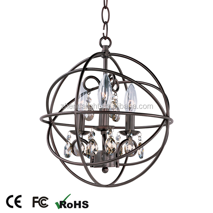 home decor balld shape linear chrome candle crystal pendant light