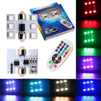 6LED 12V RGB LED Bulb With Remote Controller And BA9S / T10 / Festoon Adapter