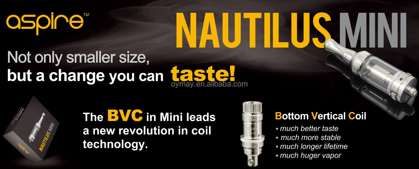 Aspire E Cigarette Mini Nautilus 1.2ml tank with new BVC Coil Revolutionary Aspire Mini Nautilus fit on Aspire CF VV Batteries