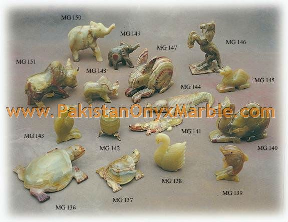 NATURAL STONE ONYX/ONYX CARVED ANIMALS