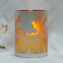 Colorful flameless glass jar candle with Led light for decoration
