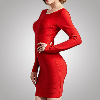 Girls Top Casual Style Office Lady Red Bandage Dress Direct Supplier