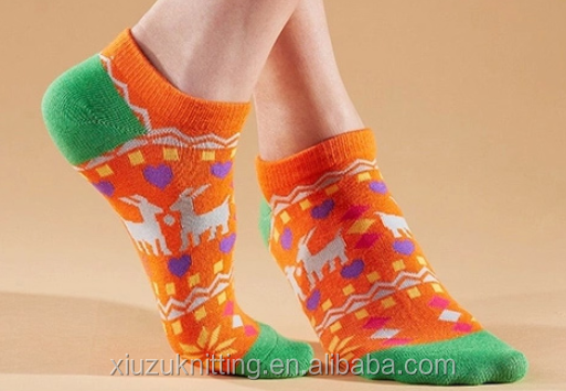 orange cotton white sheeps pattern thick woman ankle sock