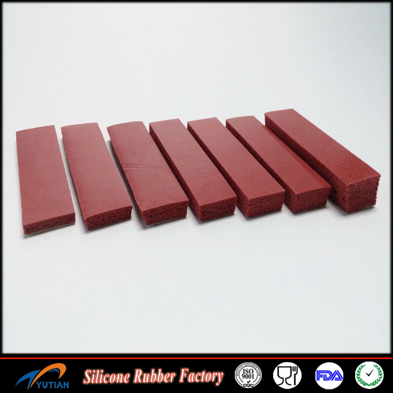 1mm 15mm thickness brown/red silicone foam rubber sheet