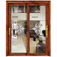 HS-JY8043 european style front interior frosted glass sliding closet doors entrances