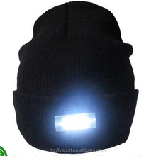 High quanlity 5 LED knitted caps Winter night walk hands led beanie hat