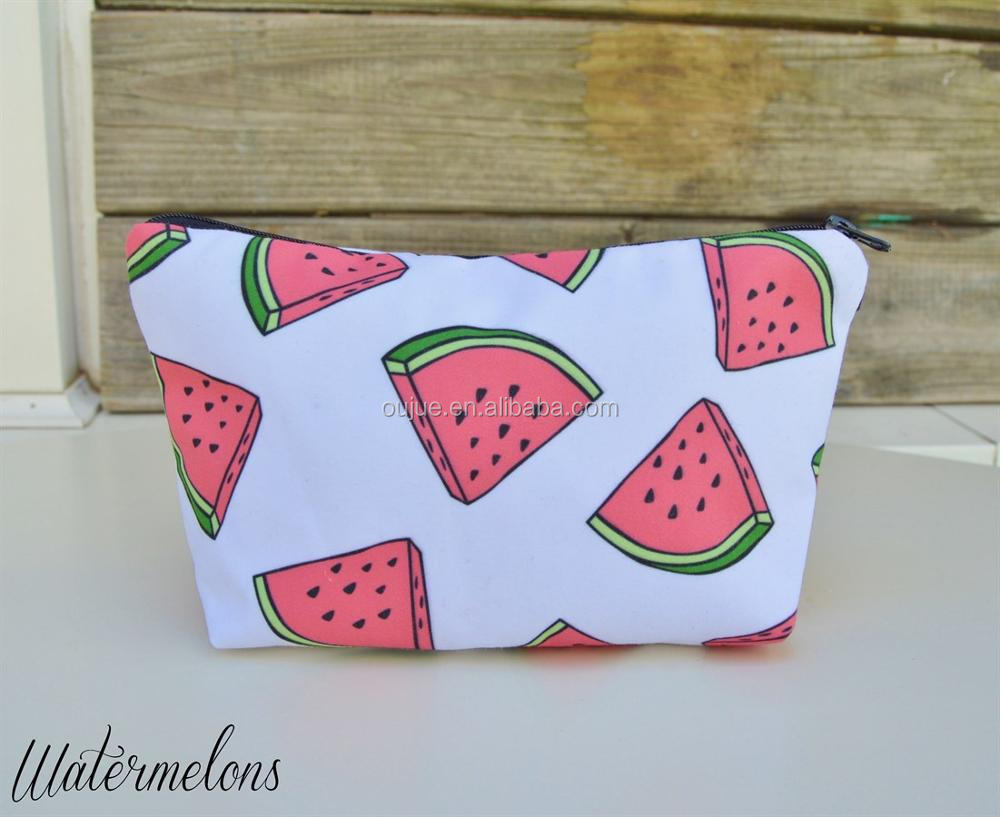 2017 Women Summer Pineapple Watermolen Flamingo Pattern Cosmetic Bags Gorgeous Zipper Bags & Purses 12 Colors