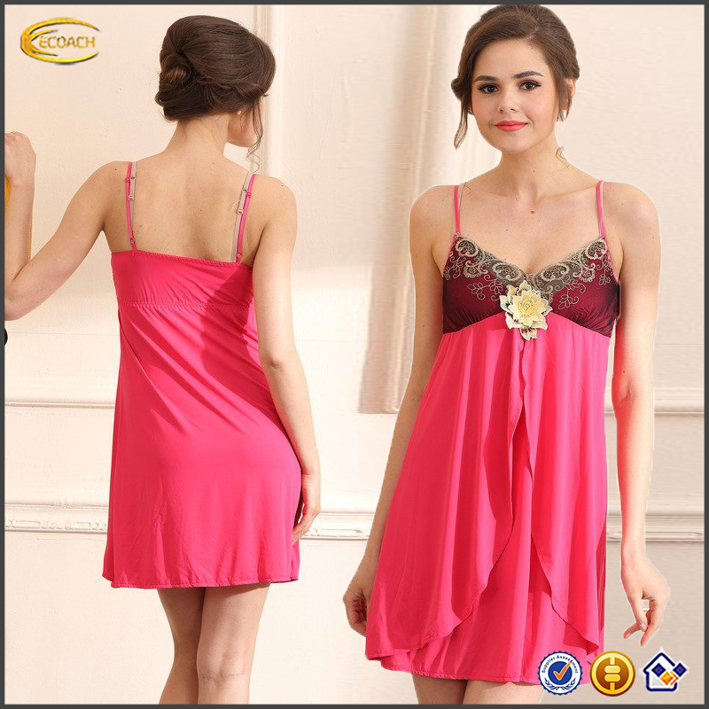 Ecoach wholesale mature women super soft Exquisite luxurious Embroidery Sexy women's nightgown silk nightgown