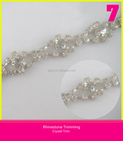 Shining Crystal Rhinestone Chain Trimming Inlay Big Pointback Transparent Rhinestone Sew on Bridal Dresses Trim