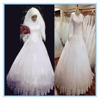 Gorgeous Muslim High neckline Lace Bridal Real sample Wedding Dress wedding gowns2015(MUSL-1010)