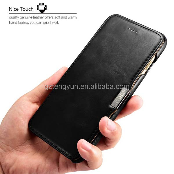 Flip Real leather phone case for apple iPhone 7 mobile accessories for iPhone 7 Plus 360 protective wallet phone case