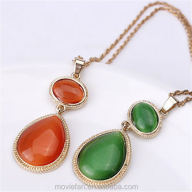Witches Of East End Green Red Gem Stone Necklace Pendant Birthday Gift Jewelry
