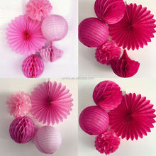 Factory supply hanging Decoraion 4/5Pcs Tissue Paper Pom Poms Paper Fan Honeycomb Ball Paper Lanterns Home Decor