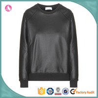 creative Selling graceful casual leather women sweater, leather sweatshirt & hoody, women leather sweater