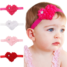 4 Colors Lovely Heart Flower Baby Girls <strong>Headband</strong> Valentine's Day Best Gift for Daughter
