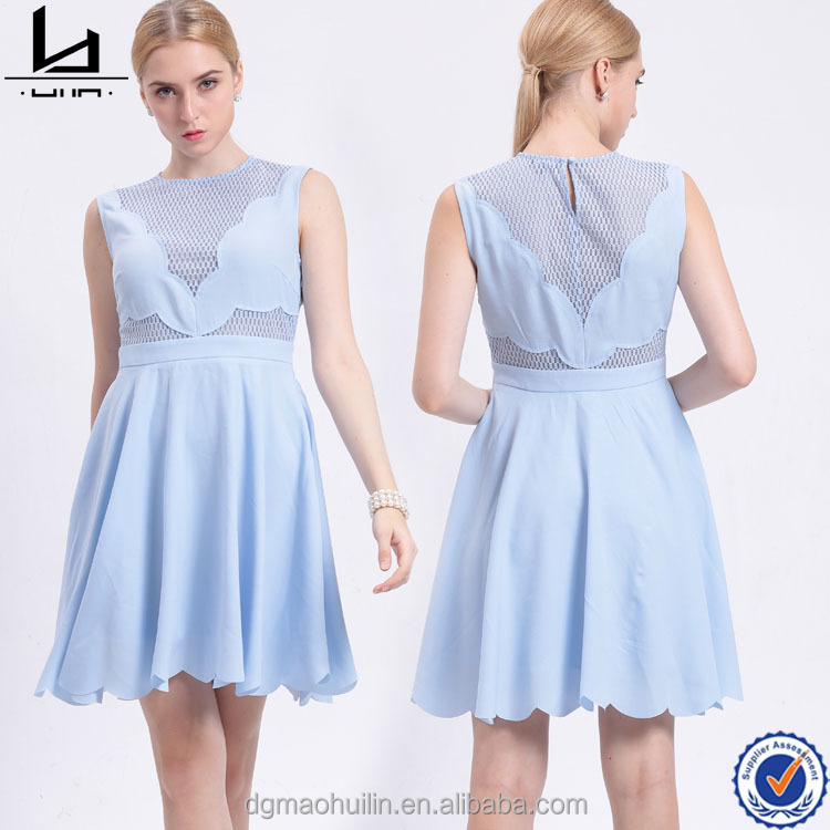 Spring summer autumn huilin apparel sleeveless o neck light blue ladies lace dresses chiffon short female clothing dresses
