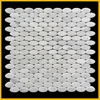 Premium Bianco carrara marble oval shaped kitchen wall decorative beautiful mosaic patterns