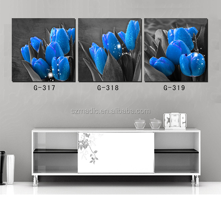 3 Panel Living Room Wall Art Painting Interior Walls Blue Tulip Flower Canvas Prints Online Modern Oil Canvas Paintings